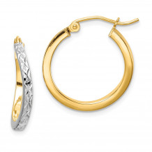 Quality Gold Sterling Silver Rhodium-plated & Vermeil  Square Tube Hoop Earrings - QE8437