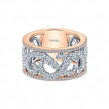 Gabriel & Co 14k Two Tone Gold Fancy Anniversary Band