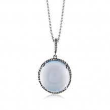 Zeghani 14k Rose Gold Diamond & Chalcedony Pendant