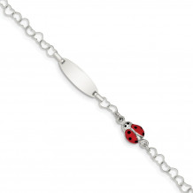 Quality Gold Sterling Silver Polished Lady Bug Baby Engraveable ID Bracelet - QID172-6