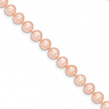 Quality Gold 14k Pink Near Round Freshwater Cultured Pearl Bracelet - PPN070-7.5
