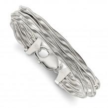 Quality Gold Sterling Silver Twisted Omega 5-Strand Bracelet - QG4518-7.5