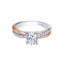 Gabriel & Co. 14K Two Tone Round Twisted Engagement Ring