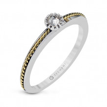 Zeghani Two Tone Cable Ring With Rose Cut Diamond Center