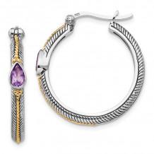 Quality Gold Sterling Silver 14k Amethyst Hinged Hoop Earrings - QTC1241