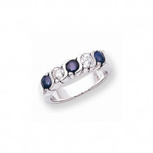 Quality Gold 14k White Gold 3.5mm Sapphire and AA Diamond 5-Stone Ring - X9007S/AA