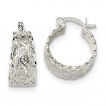 Quality Gold Sterling Silver Diamond Cut Open Swirl Hoop Earrings - QE13244