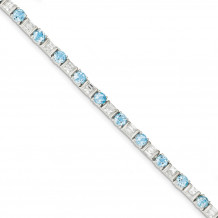 Quality Gold Sterling Silver BlueTopaz & CZ Bracelet - QX158BT