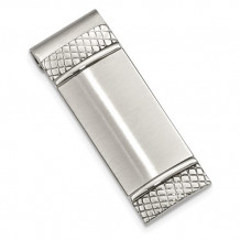 Chisel Stainless Steel Brushed And Textured Money Clip - SRM136
