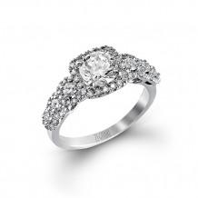 Zeghani 14k White Gold Elegant Graduated Halo And Diamond Engagement Ring