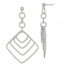 Quality Gold Sterling Silver Polished and Textured Square Post Dangle Earrings - QE8892