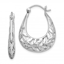 Quality Gold Sterling Silver Rhodium-plated Polished Leaves Hinged Hoop Earrings - QE11647
