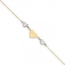 Quality Gold 14k Two Tone  Puffed Heart LOVE  Anklet - ANK253-9