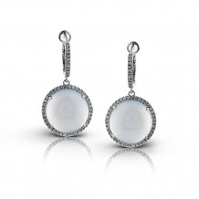 Zeghani 14k White Gold Diamond & Chalcedony Earrings