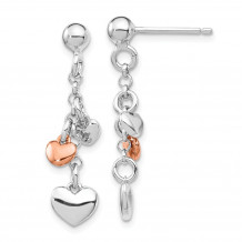 Quality Gold Sterling Silver Rhodium-plated & Rose gold-plated Heart Dangle Post Earring - QE14081