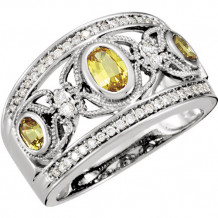 Stuller 14k White Gold Yellow Sapphire and Diamond Butterfly Wedding Band