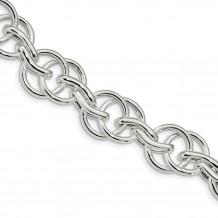 Quality Gold Sterling Silver Polished Fancy Link 8.5 inch Bracelet - QG4479-8.5