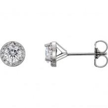 Stuller 14k White Gold Round Halo-Style Forever One Moissanite Earrings
