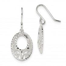 Quality Gold Sterling Silver  Open Oval Dangle Shepherd Hook Earrings - QE13053