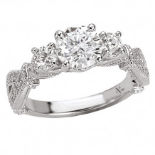 14k White Gold 3-Stone Semi-Mount Diamond Engagement Ring