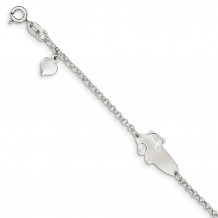 Quality Gold Sterling Silver Polished Teddy Bear Baby Engraveable ID Bracelet - QID174-6
