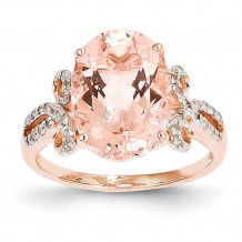 Quality Gold 14k Rose Gold Diamond And Morganite Oval Ring - Y10682MG/AA