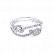 Gabriel & Co. 14k White Gold Two Row Diamond Fashion Ring with Twist Knot