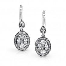 Zeghani 14k White Gold Fish Hook Diamond Earrings