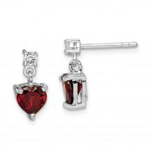 Quality Gold Sterling Silver Rhodium-plated Heart Garnet White Topaz Dangle Earrings - QE14285