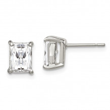 Quality Gold Sterling Silver Emerald CZ Stud Earrings - QE322
