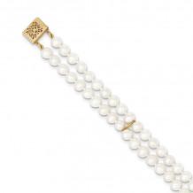 Quality Gold 14k White Near Round FW Cultured Pearl 2-strand Bracelet - PR13-7.5
