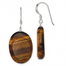 Quality Gold Sterling Silver Tiger's Eye Dangle Earrings - QE6197