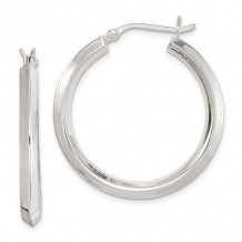 Quality Gold Sterling Silver 30mm Knife Edge Hoop Earrings - QE6504