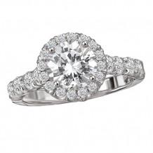 18k White Gold Round Halo Semi-Mount Diamond Engagement Ring