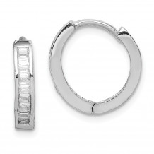 Quality Gold Sterling Silver Rhodium-plated CZ  Baguette Hinged Hoop Earrings - QE9200