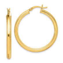 Quality Gold Sterling Silver Gold-flashed 35mm Grooved Hoop Earrings - QE6682