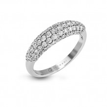 Zeghani 14k White Gold Pave Diamond Domed Band