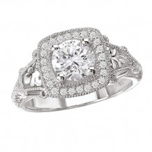 La Vie 14k White Gold Halo Semi-Mount Diamond Engagement Ring