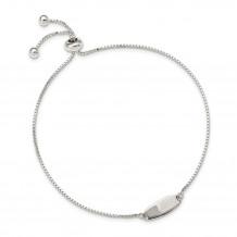 Quality Gold Sterling Silver Polished Bar Adjustable Bracelet - QG4764
