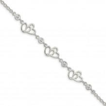 Quality Gold Sterling Silver Polished CZ Hearts 7.5in Bracelet - QX963CZ