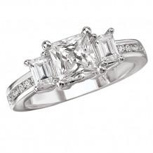 14k White Gold 3-Stone Semi-mount Diamond Engagement Ring