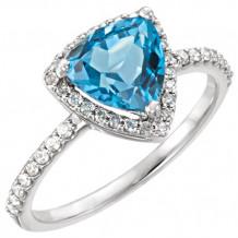14k White Gold Stuller Blue Topaz and Diamond Fashion Ring