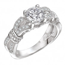14k White Gold Peg Head Semi-Mount Engagement Ring