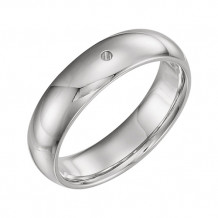 Stuller 14k White Gold Round Gypsy Set Comfort-fit Wedding Band