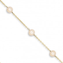Quality Gold 14k 9 inch FW Cultured Pearl Anklet - ANK144-9