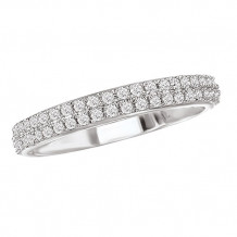La Vie 14k White Gold Double Row Diamond Wedding Band