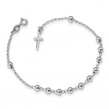 Quality Gold Sterling Silver Rhodium Plated Polished Beaded Cross Bracelet - QG4569-7