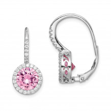 Quality Gold Sterling Silver Rhodium-plated Pink & White CZ Leverback Dangle Earrings - QE15392