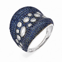 Quality Gold Sterling Silver White & Blue CZ Brilliant Embers Ring - QMP595-6