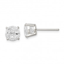 Quality Gold Sterling Silver 7mm Round Basket Set CZ Stud Earrings - QE7495